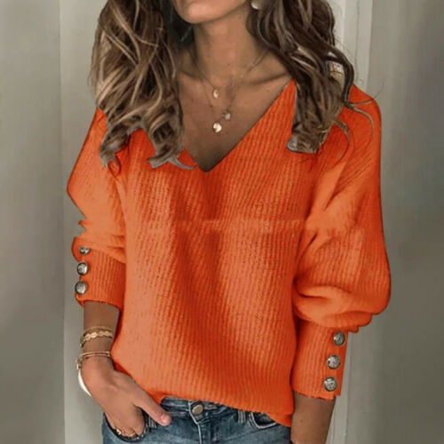 Womens Deep V-Neck Jumper Baggy Sweater Tops Oversized Button Knitted Pullover