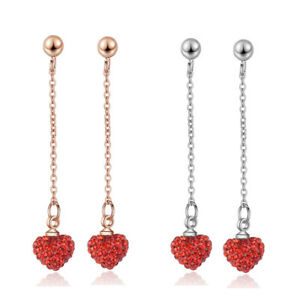 925-Sterling-Silver-Charm-CZ-Cubic-Zircon-Red-Heart-Ear-Stud-Dangle-Earrings