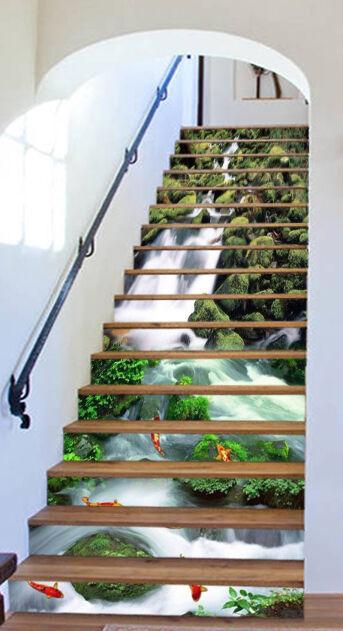 3D Karpfen Fluss 42 Stair Risers Dekoration Fototapete Vinyl Aufkleber Tapete DE