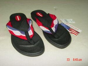 42f15bfc076ba5 NWT Womens Okabashi Thong Style Sandals Flip Flops Red White Blue ...