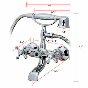 2 Handles Chrome Clawfoot Bath Tub Bathroom Vintage Faucet Hand Shower Sprayer Ebay