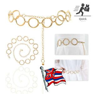 1 x Vintage Gold Circle Women Waistband Metal Waist Chain Vogue Belt Wide