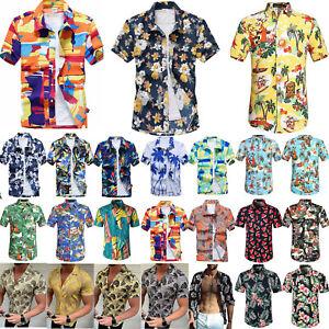 Men-Hawaiian-Shirt-Cruise-Tropical-Luau-Palm-Beach-Aloha-Party-Holiday-Top-S-4XL