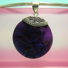 "1 1/4"" Round Purple Abalone Paua Shell Handmade 925 Sterling Silver Pendant"