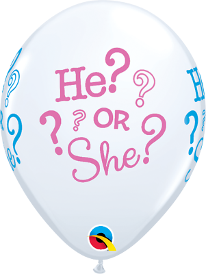 """20 x He or She Gender Reveal Baby Shower 11/"""" Qualatex Latex Balloons"""
