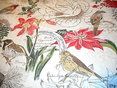Organic Pottery Barn Christmas Decoupage Floral Bird Queen Full Duvet Cover