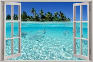 Huge-3D-Window-view-Exotic-Beach-Wall-Sticker-Film-Mural-Art-Decal-525