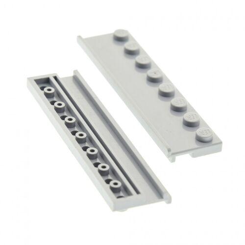 LEGO 30586 Plate Modified 2 x 8 with Door Rail Light Bluish Gray x2