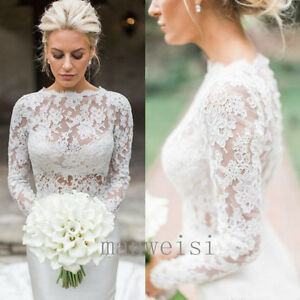 Image Is Loading 2018 White Bridal Jackets Lace Lique Long Sleeves