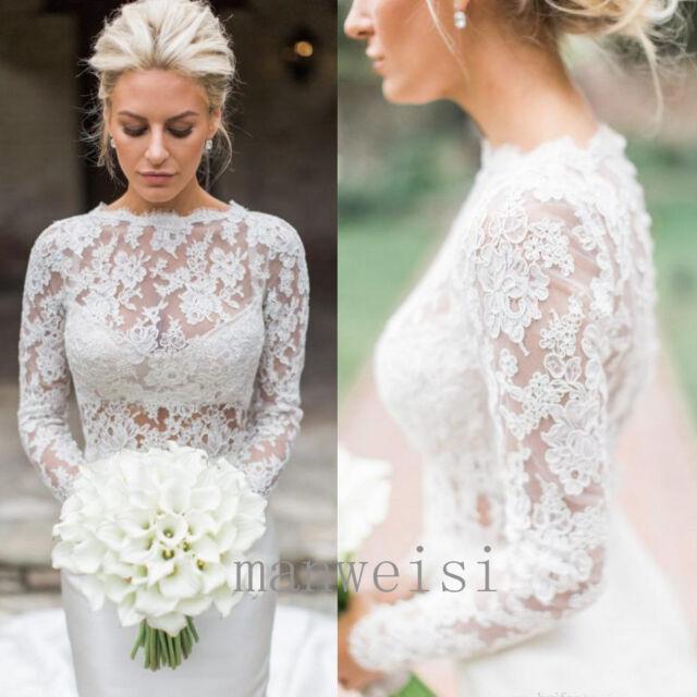 White Bridal Bolero Lace Top Applique Long Sleeves Wedding Wraps Size 2-26W 2019