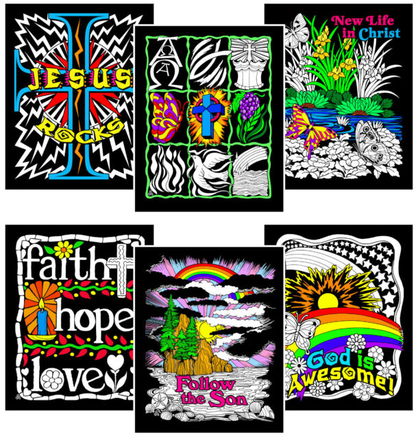 Stuff2Color Faith Bundle - Includes 6 Fuzzy Velvet Coloring Posters