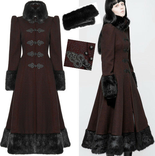 Cappotto pelliccia vittoriano Lolita russo Corsetto ricamo Punkrave gotico di invernale di TwrTYq6S