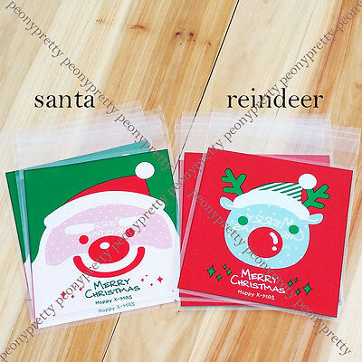 xmas santa reindeer cello cellophane cookie candy treat bags self adhesive party