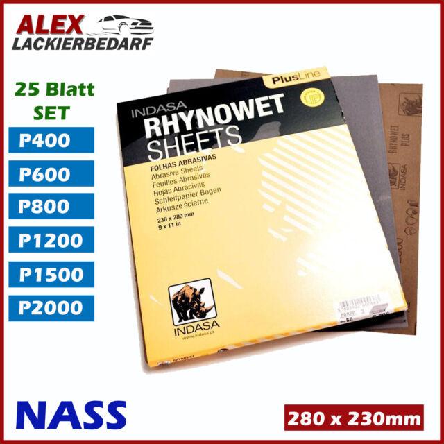 25x Indasa Nass Schleifpapier Bogen Set 230 x 280 mm Wasserfest P400-P2000