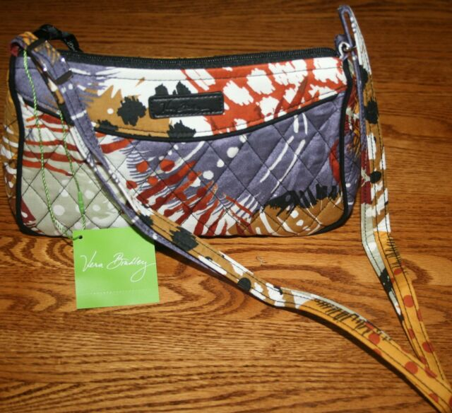 8341350f7dc4 Vera Bradley 4pc Cosmetic Organizer Painted Feathers Little Crossbody Purse
