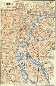 image is loading belgium liege 1929 old vintage map plan chart
