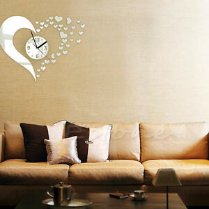 DIY 3D Home Modern Decor Wall Stickers Living Room Love Mirror ...