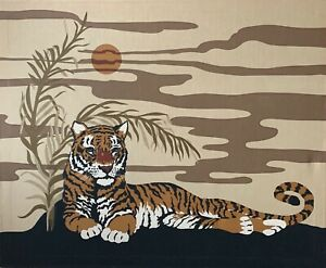 Vintage-70s-Tiger-Cloth-Tapestry-Wall-Hanging-Mid-Century-Modern-Domus-Textiles