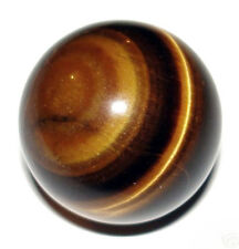 CARVED - TIGER'S EYE 18mm Crystal Ball (Sphere) w/ Description - Healing Stone
