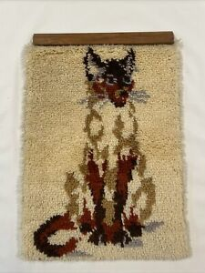 Vintage-Completed-SIAMESE-CAT-MCM-Latch-Hook-Rug-Wall-Art-60s-70s-Shag