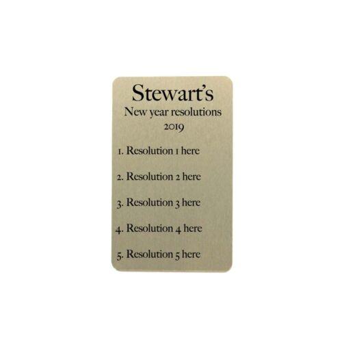 New Year resolutions 2019 personalised on metal keepsake wallet card gift