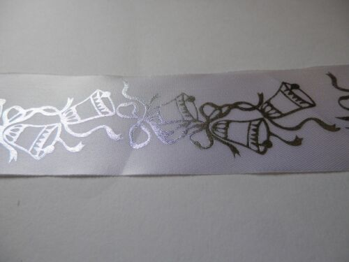 48mm ribbon white with silver bells x10 m