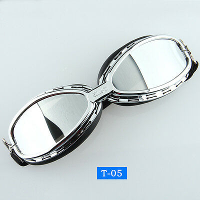 Motorcycle Bike Riding Goggles Eyewear Protect Glasses Silver Lens UV-Protection