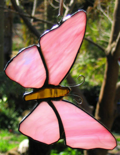 PURPLE /& RUBY RED STAINED GLASS BUTTERFLY suncatcher CUSTOM LEADLIGHTS in STORE