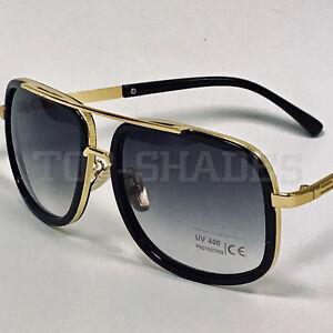 Aviator-Oversize-Square-Designer-Flat-Top-Gold-Men-Bar-Fashion-Shades-Sunglasses