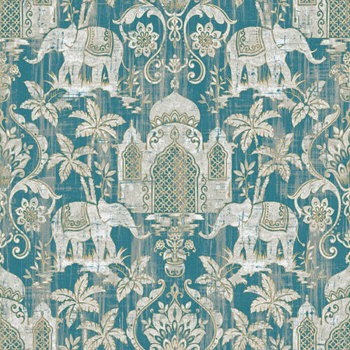 G67356 Indo Chic Elephant Taj Mahal Teal Silver Turquoise Galerie Wallpaper