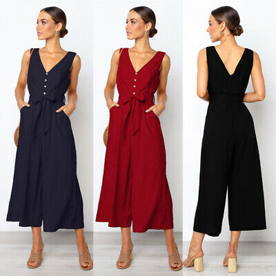 Women/'s Wide Leg Jumpsuit Sleeveless Casual Pocket Ladies Romper Office Overalls