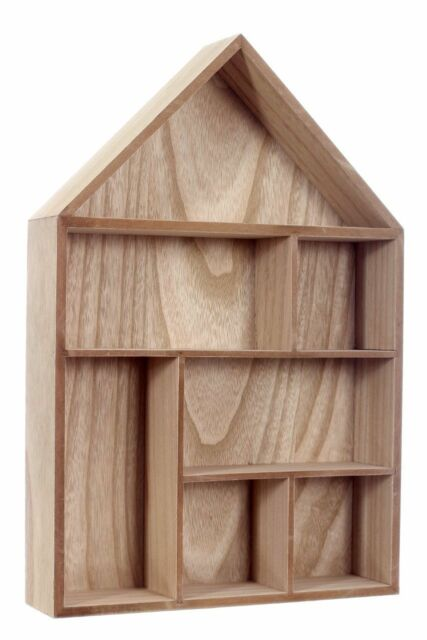 Natural Wood House Shape Wall Storage Unit Cube Display Shelf 7 Compartment Home