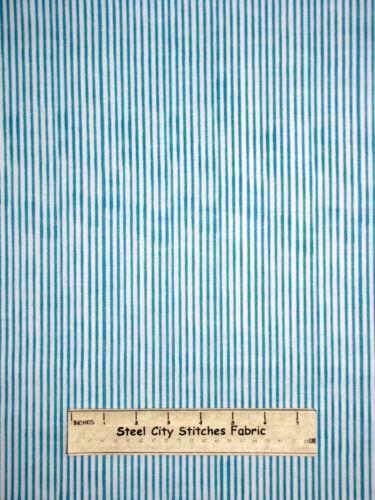Loralie Harris Designs Basics Lazy Stripe Turquoise Cotton Fabric 691-838-B YARD
