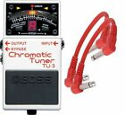 BOSS Tu-3 Chromatic Tuner Pedal Tu3 2 Patch Cables