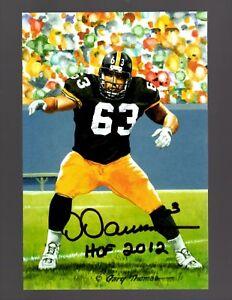 Dermontti-Dawson-Signed-Auto-4x6-Goal-Line-Art-W-HOF-12-100-Guaranteed-BLACK