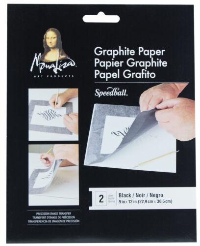 "Speedball Mona Lisa Black Image Transfer Graphite Paper 9/"" x 12/"" Sheets 2pk"