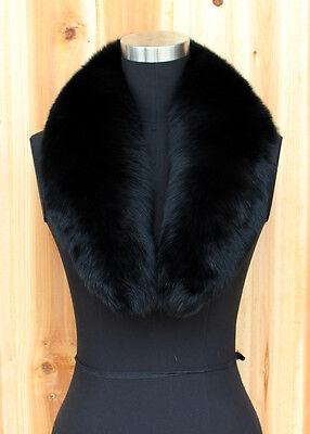Large Long 100% Real Full Fox Fur collar Scarf Black 85CM*15CM Free Shipping