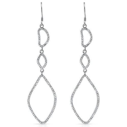 Sterling Silver CZ Large Dropdown Fancy Earrings