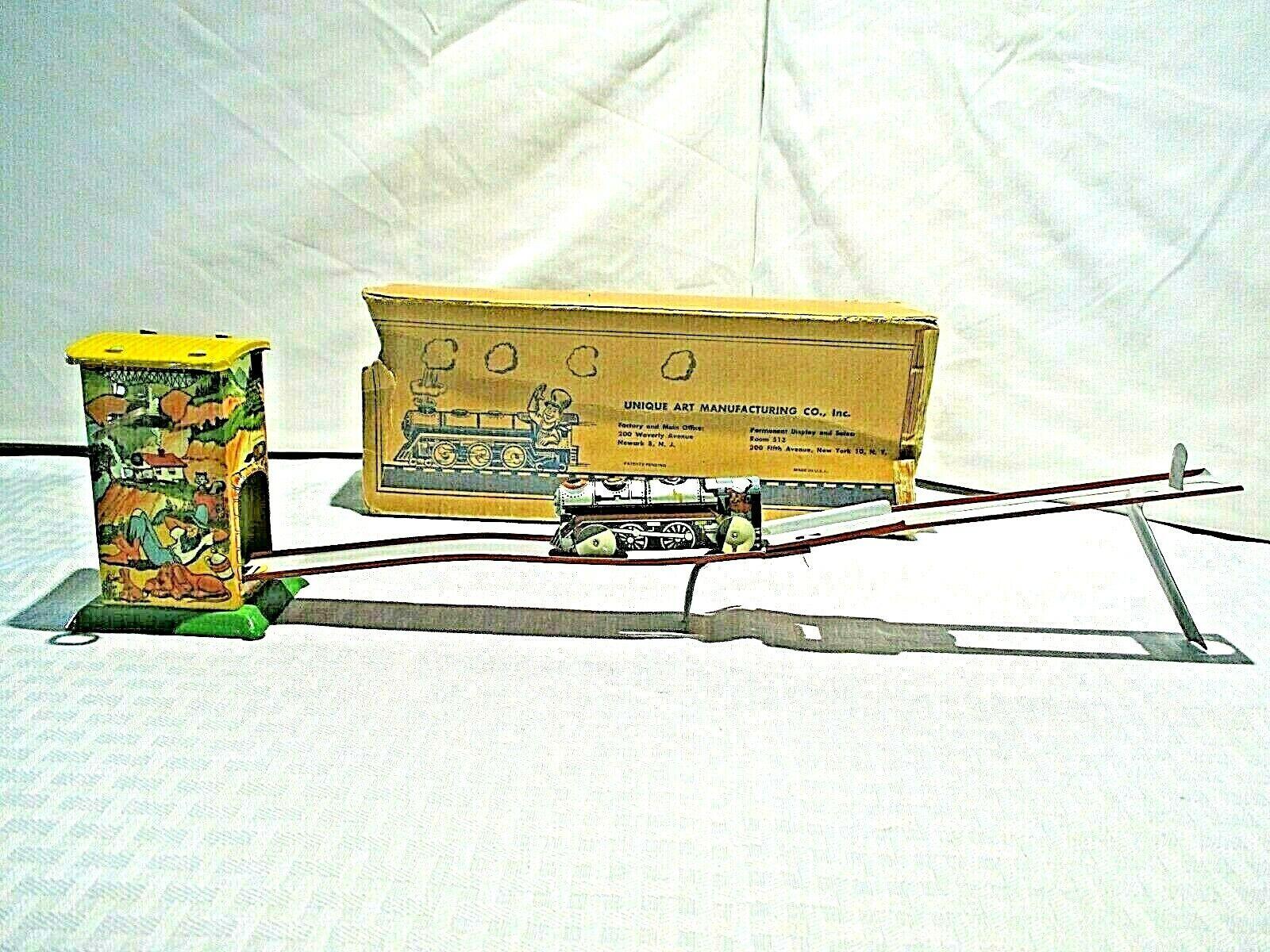 Rare Antique 1930s Unique Art Hillbilly Express Tin Windup Toy w box