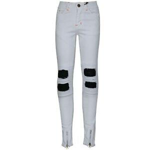 talla 40 178d8 dd040 Detalles de Niño Blanco Elástico de Diseñado Jeans Rasgado Vaquero Ajustado  Pantalones