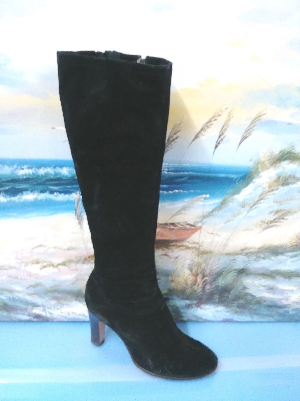 Vintage Women High Heels  Boot Suede  shoes SZ 7.5  Style 46635