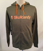 Skullcandy Men's Zip Up Hoodie Heather Olive Green Xl Headphones Earbuds