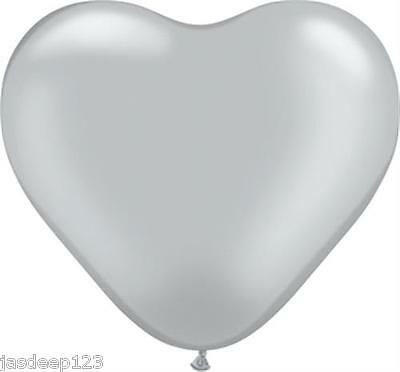 "12 x 6"" Inch Heart Latex Qualatex Balloons Air Quality Wedding Party Love"