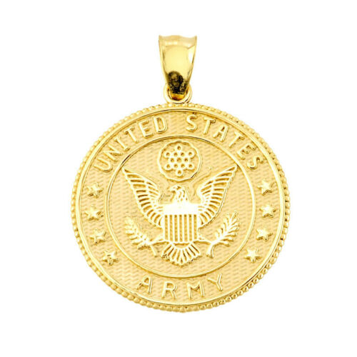 Polished Solid Gold US Army Two Sided Coin Pendant