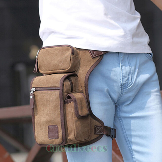 Men's Canvas Travel Hiking Motorcycle Riding Fanny Pack Waist Thigh Drop Leg Bag