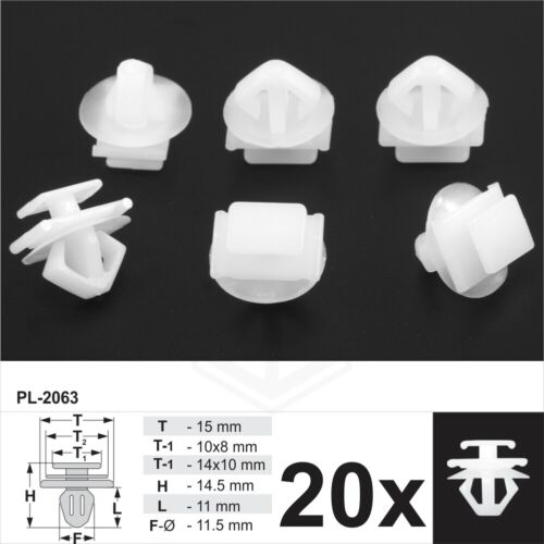 20x Fits for Peugeot Plastic Trim Clips Bumpers Grille Trims Door Side Mouldings
