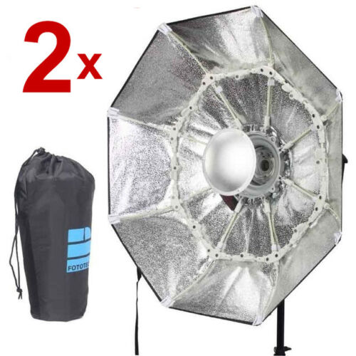 "2x 40/"" 100cm Foldable Portable Beauty Dish Silver Octagon Softbox for Flash 2pcs"