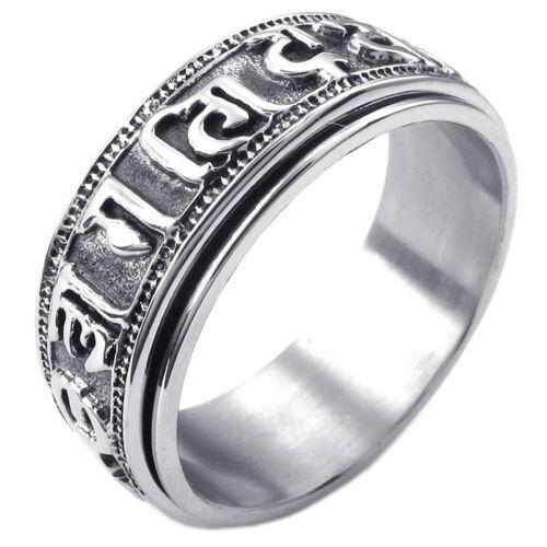 Edelstahl Tibetischen Mantra Om Mani Padme Hum Spiner S SX Schmuck Herren-Ring
