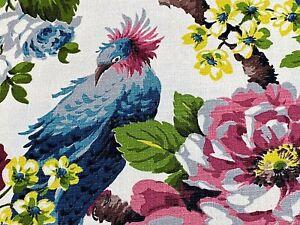 SALE-Fabulous-Birds-amp-Roses-Barkcloth-Vintage-Fabric-Unused-Old-Stock-PILLOWS