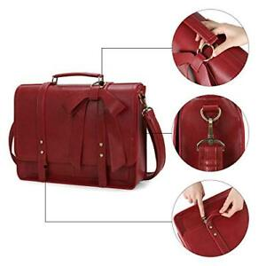Details About 15 6 Inch Women Briefcase Pu Leather Laptop Shoulder Satchel Computer Bag Red